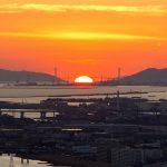 スカイビルから明石海峡へ落ちる夕日-DSC06621