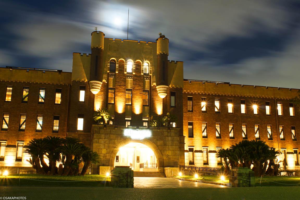大阪城と満月-08258