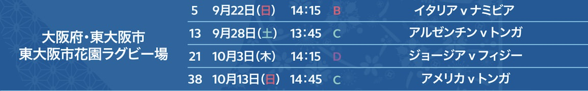 ラグビーW杯東大阪市花園ラグビー場試合日程